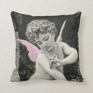 Cherub Bouguereau Boy Butterfly Fairy Engraving Cushion
