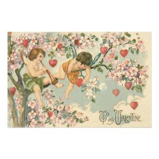 Cherub Cupid Flute Magnolia Tree Heart Photo Print