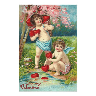 Cherub Cupid Heart Field Tree Photographic Print