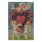 Cherub Cupid Heart Violets Valentine Poster