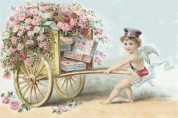 Cupid valentine business cards business card printing zazzle uk cherub cupid mail rose candy cart business card colourmoves Image collections
