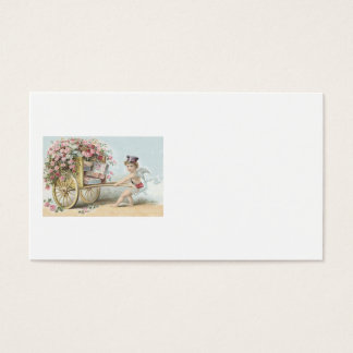 Cherub Cupid Mail Rose Candy Cart Business Card