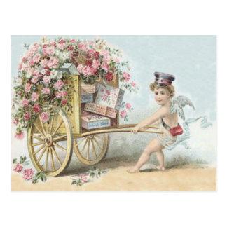 Cherub Cupid Mail Rose Candy Cart Postcard