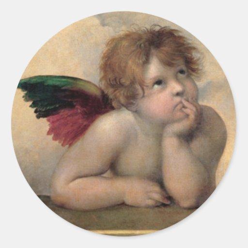 Cherub from Sistine Madonna by Raphael Round Sticker