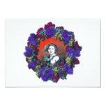 Cherub in grape wreath, red background invite