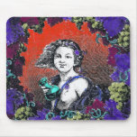 Cherub in grape wreath, red background mouse mat