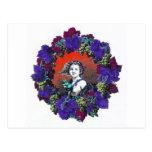 Cherub in grape wreath, red background post card