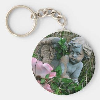 Cherub in the Grass Basic Round Button Key Ring