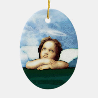 Cherub laying on the grass thinking ceramic oval decoration