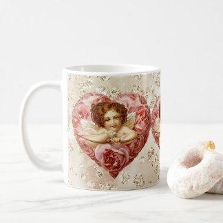 Cherub w/ Arrow Roses Heart Bokeh Bling Coffee Mug