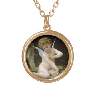 Cherub with A Butterfly Gold Plated Necklace
