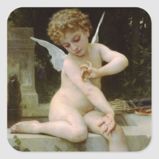 Cherub With A butterfly Square Sticker