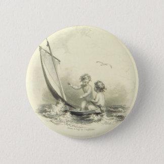 Cherubs - Angels on the Water Engraving 6 Cm Round Badge