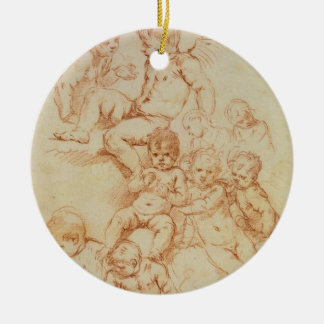 Cherubs, early 17th century (red chalk on paper) round ceramic decoration