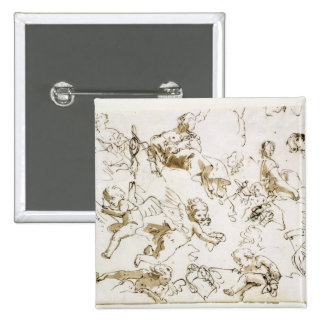 Cherubs, early 18th century (pen and ink and wash 15 cm square badge