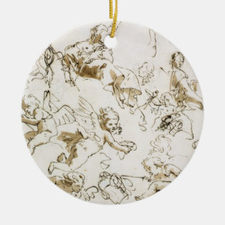 Cherubs, early 18th century (pen and ink and wash christmas ornament