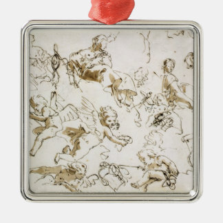 Cherubs, early 18th century (pen and ink and wash Silver-Colored square decoration