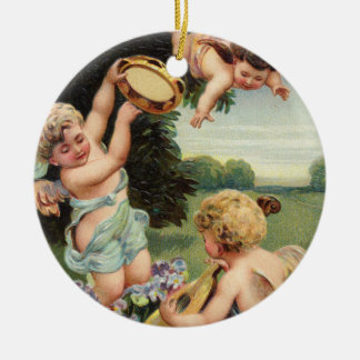 Cherubs Playing Music Collectible Holiday Ornament