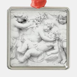 Cherubs Silver-Colored Square Decoration