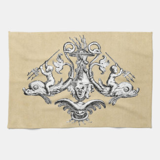 Cherubs with Tridents on Dolphins Tea Towel