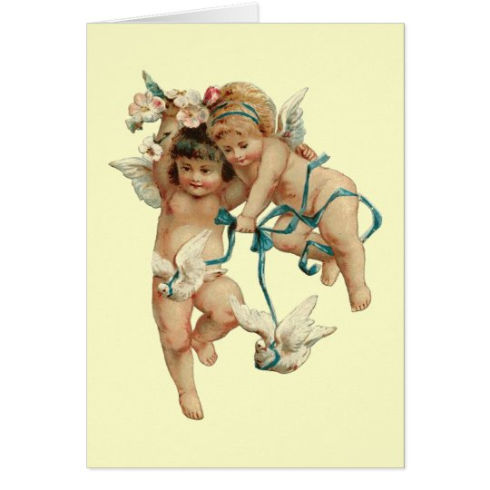 Cherubs with White Doves Card