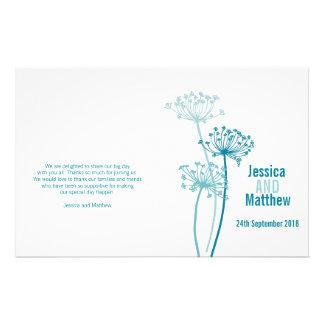Chervil graphic modern flower Wedding Programme 14 Cm X 21.5 Cm Flyer