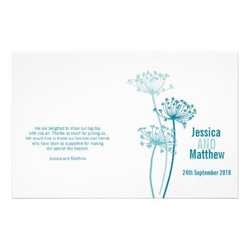 Chervil graphic modern flower Wedding Programme Full Color Flyer