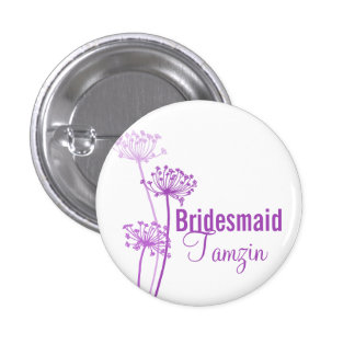 Chervil modern flower purple wedding pin / button