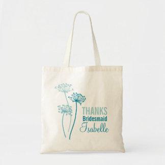 Chervil modern graphic flower teal bridesmaid bag