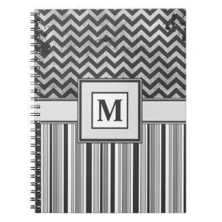 Chervron Zig Zags and Masculine Stripes in Greys Notebook
