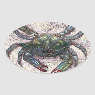 Chesapeake Bay Blue Crab Oval Sticker