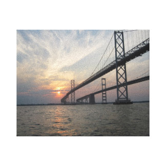 Chesapeake Bay Bridge Sunset canvas Stretched Canvas Print