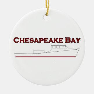 Chesapeake Bay Deadrise Workboat Round Ceramic Decoration