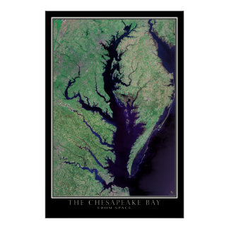 Chesapeake Bay Maryland - Virginia Satellite Map Poster
