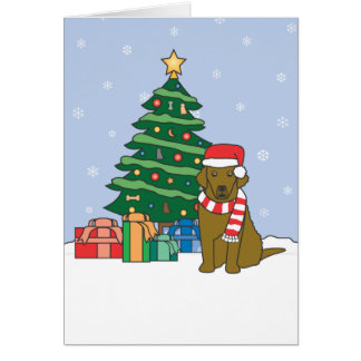 Chesapeake Bay Retriever and Christmas Tree Greeting Card