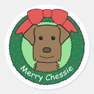 Chesapeake Bay Retriever Christmas Classic Round Sticker