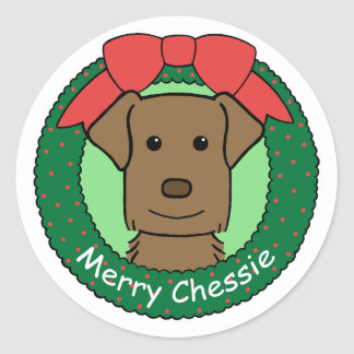 Chesapeake Bay Retriever Christmas Round Sticker