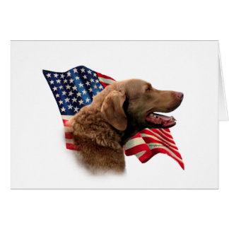 Chesapeake Bay Retriever Flag Card