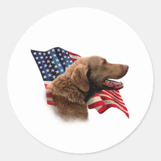 Chesapeake Bay Retriever Flag Round Sticker