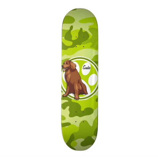 Chesapeake Bay Retriever;  green camo, camouflage Skate Board Deck