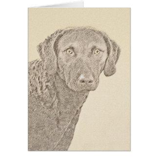 Chesapeake Bay Retriever Painting Original Dog Art Card