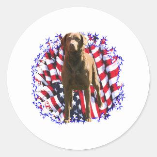 Chesapeake Bay Retriever Patriot Classic Round Sticker