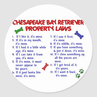 CHESAPEAKE BAY RETRIEVER Property Laws 2 Round Sticker