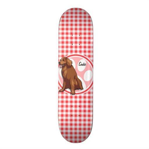 Chesapeake Bay Retriever; Red and White Gingham Custom Skateboard