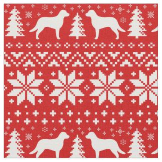 Chesapeake Bay Retrievers Christmas Pattern Red Fabric