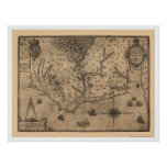 Chesapeake Bay Virginia Map 1590 Poster