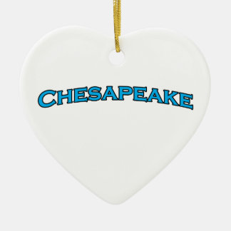Chesapeake Virginia Arched Text Logo Ceramic Heart Decoration