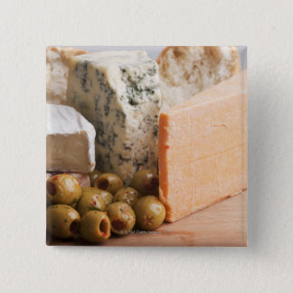 chese and olives 15 cm square badge