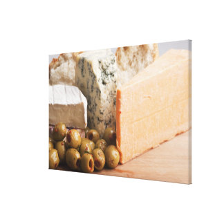 chese and olives canvas print