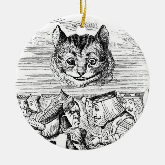 Cheshire Cat Above the Queen Round Ceramic Decoration